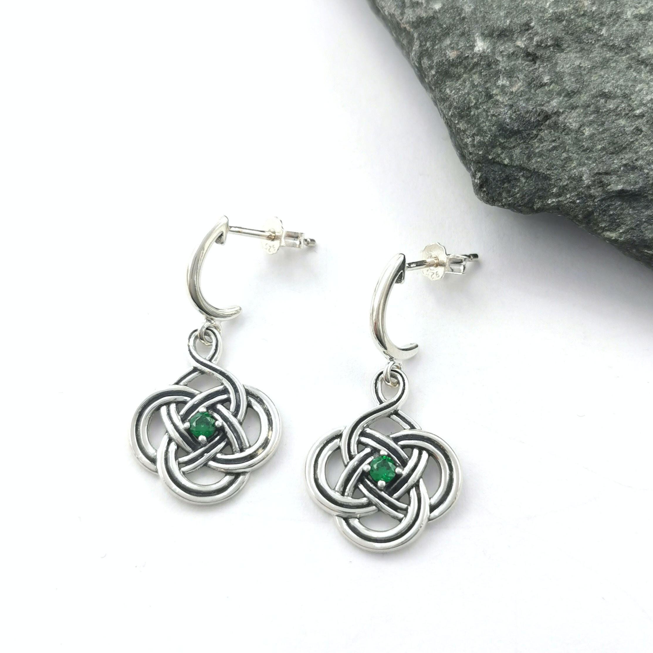 earrings Celtic knot heart and green diamond
