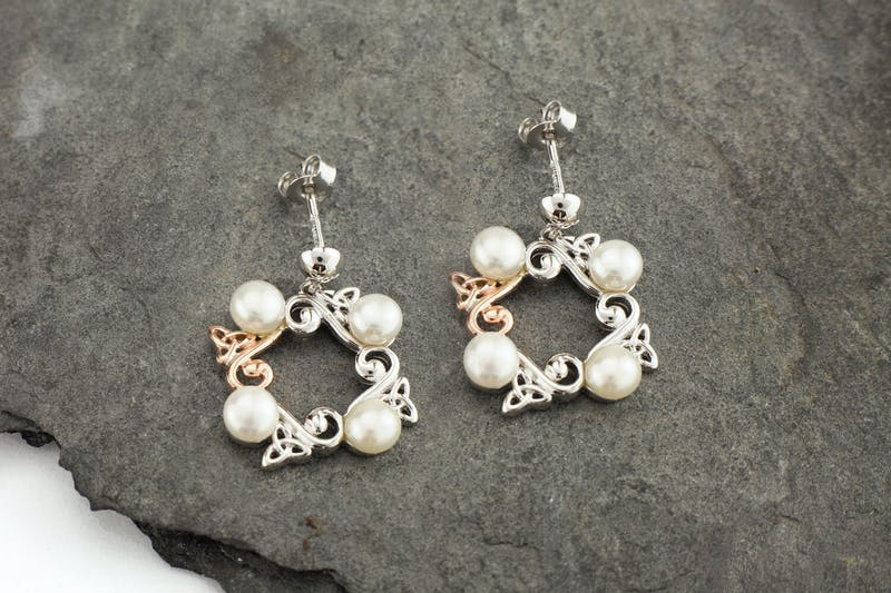 Sterling Silver And Irish Rose Gold Pearl Earring Made In Ireland