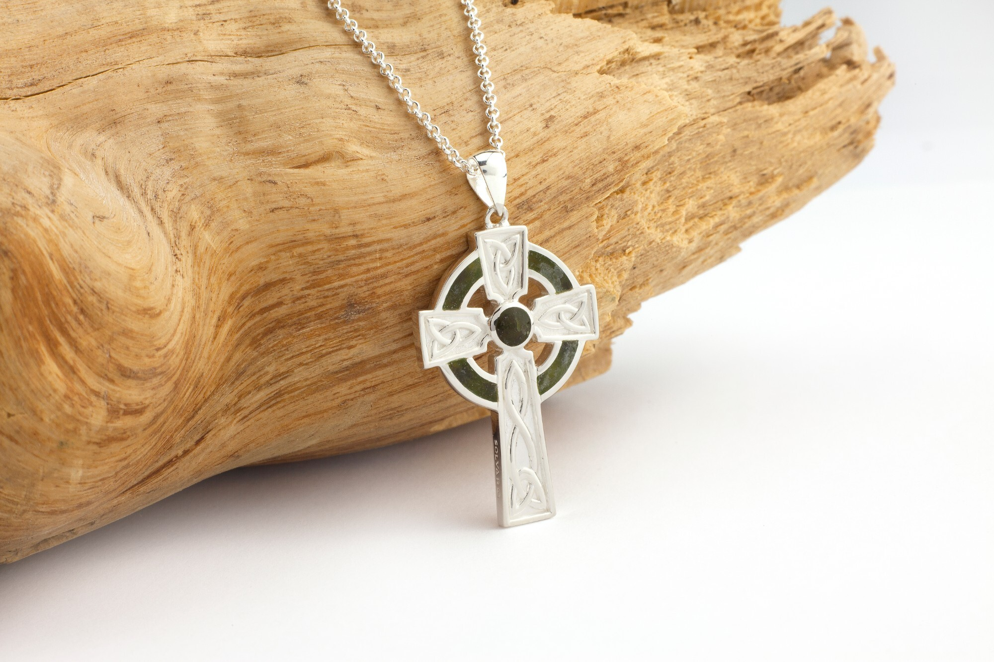Sterling Silver Shamrock Cross Pendant with 18 Sterling Silver Lite Curb Chain.